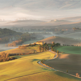 Fog, Light and Countryside. Pienza. Tuscany. Copyright © JZeppelina