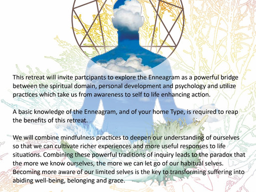 16 - 18 May 2019 | The Enneagram and Mindfulness Retreat-Discovery of the Essence Dimensions