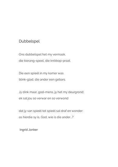 Poem 'Dubbelspel'