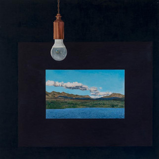 'Lightbulb with landscape' (2018) POA