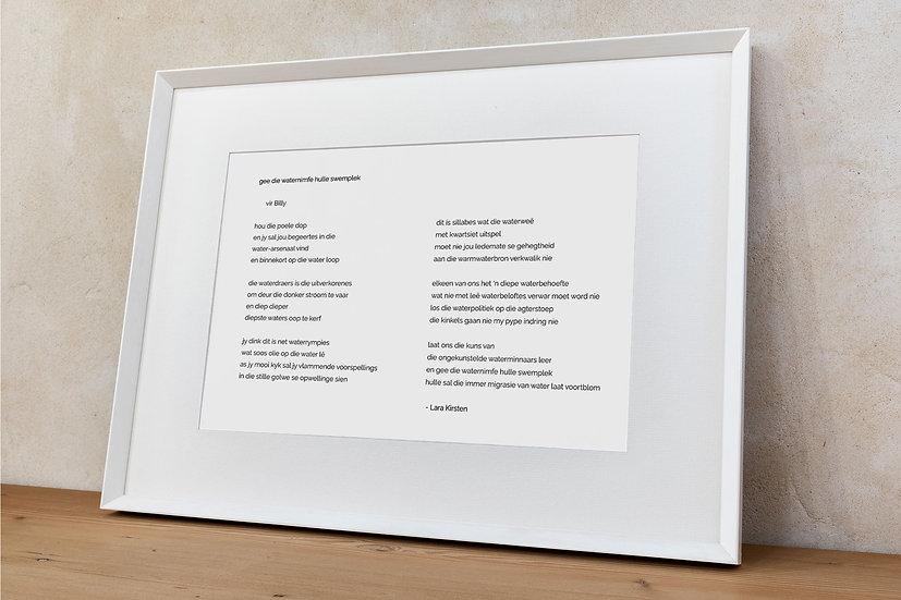 Poem 'gee die waternimfe hulle swemplek'