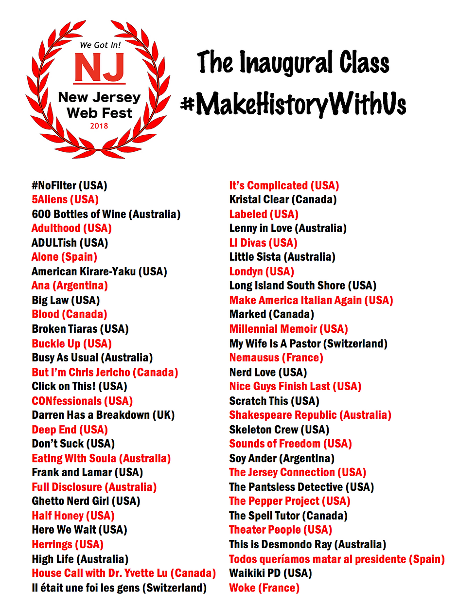 NJWebFest - FINAL List of Official Selec