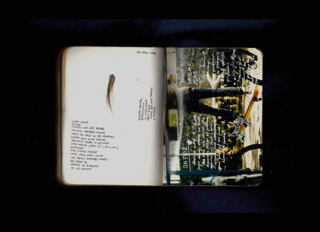 [Spread112] Dailly Poem & Founded Item / Daily thought over old photo stock