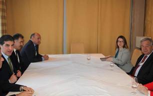Serokê Herêma Kurdistanê li gel Sekreterê Giştî yê NY û Serokwezîrê Yunanê civiya
