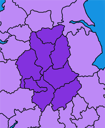 Map with highlighted counties - South Yorkshire, Derbyshire, Nottinghamshire, Staffordshire, Leicestershire, West Midlands, Warwickshire and Northamptonshire.