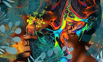 Frau mit mystischen Farben