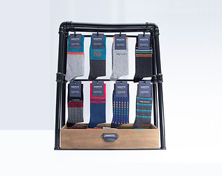 Modern and industrial display for socks