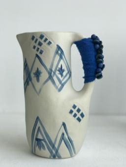 small blue & white jug