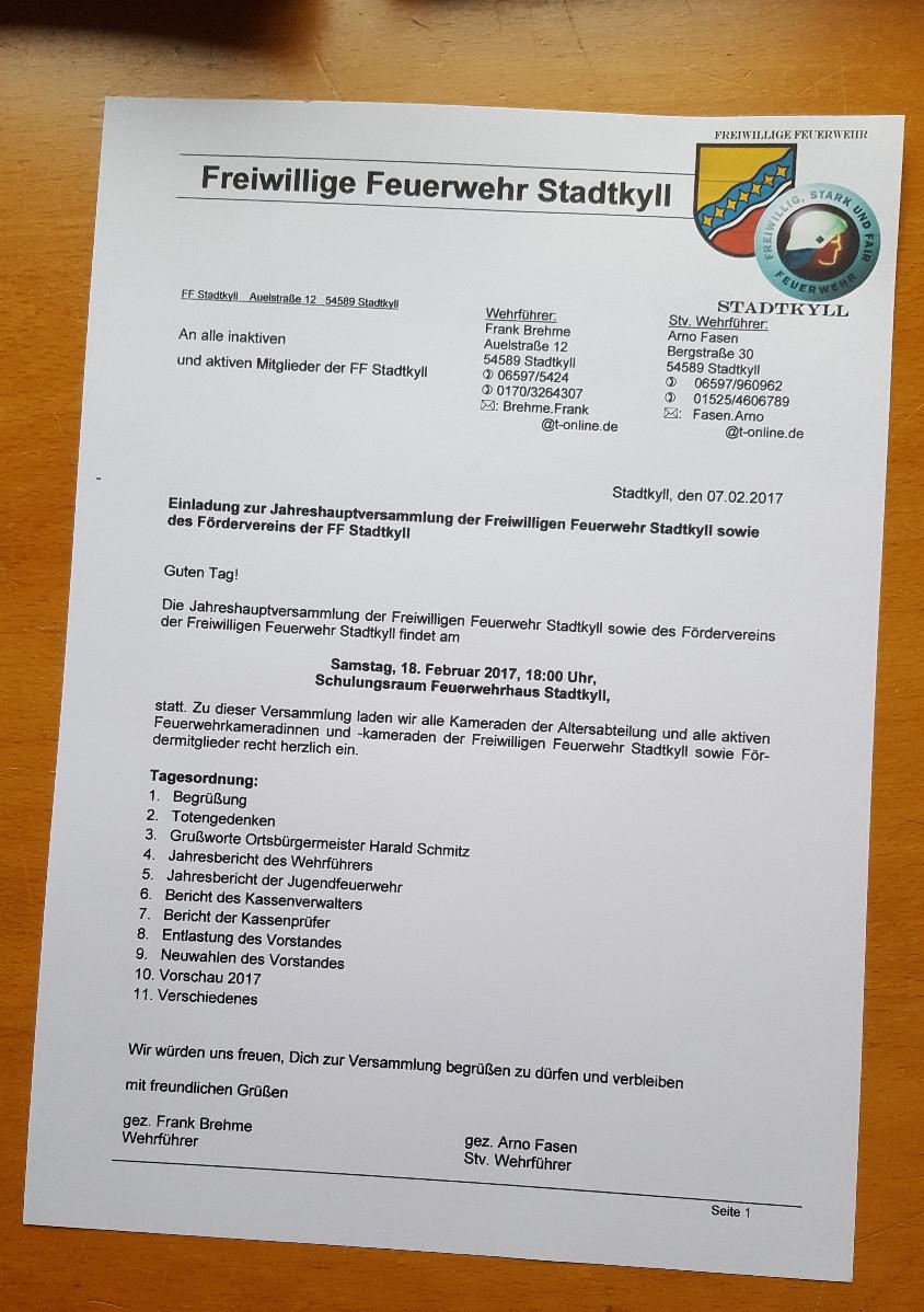Einladung JHV