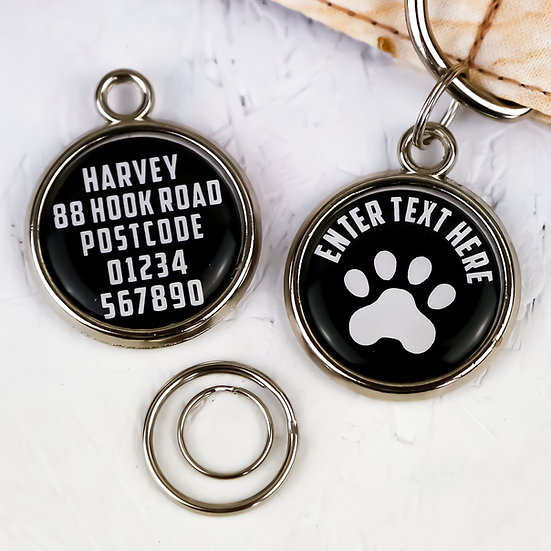 Dogs tag, personalised pet tag, dog ID tag, black pet tag, dog tag, pawesome pet tags, pet tags UK