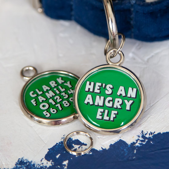 Christmas gifts for dogs, Elf movie quote, He's an angry elf, Green dog tag