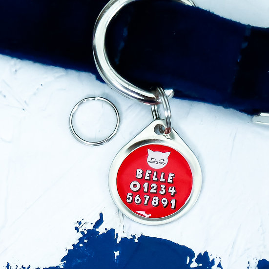 Pawesome pet tags, cat ID tag, cat tags, cat gifts, gifts for cat owners, red cat tag