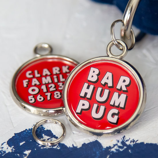 Christmas Dog Tag - Bar Hum Pug
