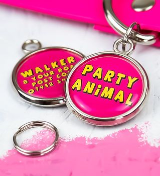 Dogs birthday gift dog ID tag by Pawesome Pet Tags