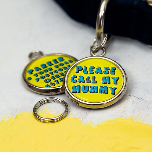 Dogs tag, personalised pet tag, dog ID tag, yellow pet tag, dog tag, pawesome pet tags, dog mum gift, dog mum,