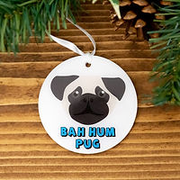 BAR HUM PUG - CHRISTMAS BAUBLE 80MM - PA
