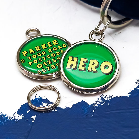 Dogs tag, personalised pet tag, dog ID tag, green pet tag, dog tag, pawesome pet tags, pet tags UK, superhero dog, hero, dog,