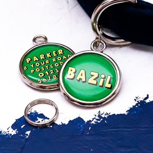 Dogs tag, personalised pet tag, dog ID tag, green pet tag, dog tag, pawesome pet tags, dog name tag, pet name tag,