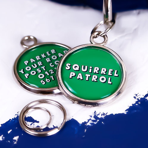 PAWESOME PET TAGS DOG NAME TAG STRONG PET TAG DOUBLE SIDED FUNNY DOG TAG SQUIRREL PATROL GREEN