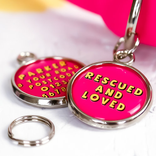 Dogs tag, personalised pet tag, dog ID tag, pink pet tag, dog tag, pawesome pet tags, rescued and loved, rescued dog tag,