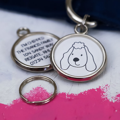 PAWESOME PET TAGS, DOG ID TAGS, POODLE, POODLE GIFTS, PERSONALISED DOG TAGS, DOG PORTRAIT