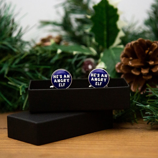 Personalised Cufflinks - He's An Angry Elf