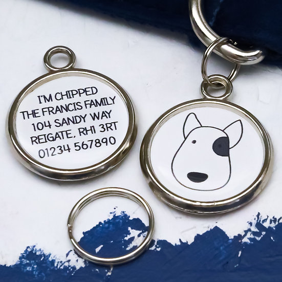 Pawesome Pet Tags, personalised dog tag, dog portrait, bull terrier gift, bull terrier dog tag