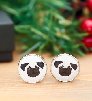 Pug cufflinks, dog themed cufflinks by Pawesome Pet Tags