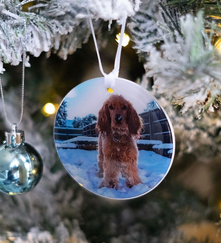 Dog photo christmas bauble by Pawesome Pet Tags