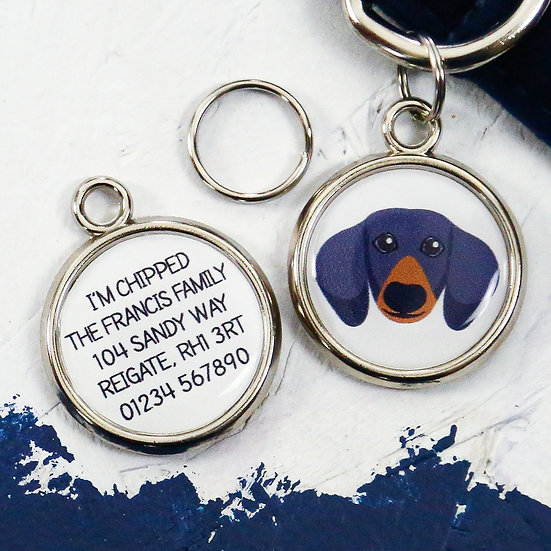 Pawesome pet tags, personalised dog tags, dachshund gift, dachshund dog tag, dog name tag, dogs tag, sausage dog gifts