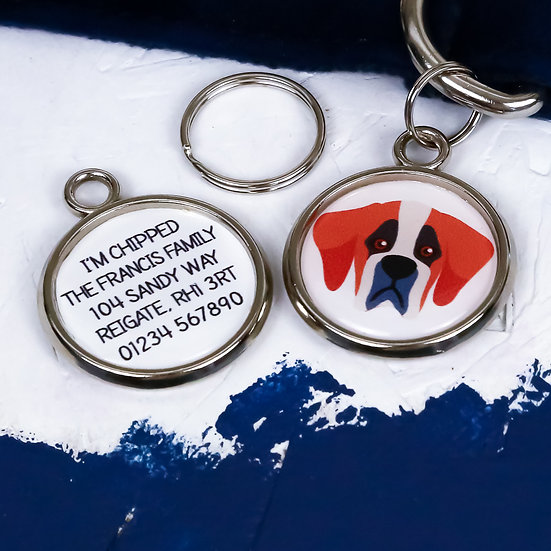 Pawesome pet tags, personalised dog tags, Saint Bernard gift, Saint Bernard dog tag, dog name tag, dogs tag,