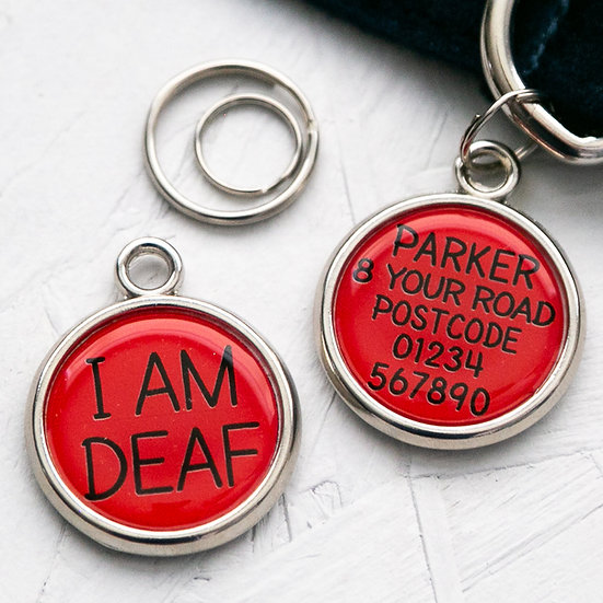 Pawesome pet tags, deaf dog, pet tags for deaf dogs, personalised pet tag, I am deaf, red dog tag, dog gift
