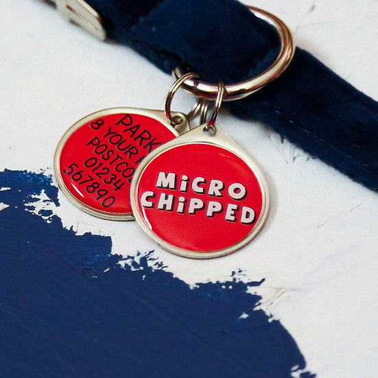 dog collar charm, microchipped pet tag, microchipped dog tag, red pet tag, pet shop items, pawesome pet tags