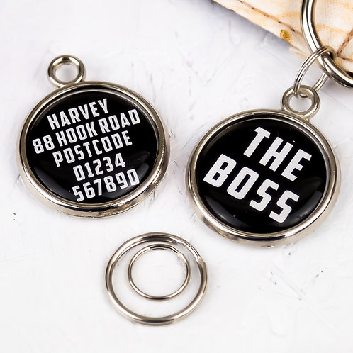 Dogs tag, personalised pet tag, dog ID tag, paw print pet tag, dog tag, pawesome pet tags, funny dog gifts, the boss