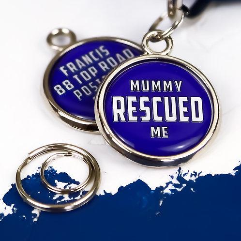 pawesome pet tags, rescued dog tag, rescued dog, dog mum gift, dog adoption gift, cute dog tag, blue dog tag