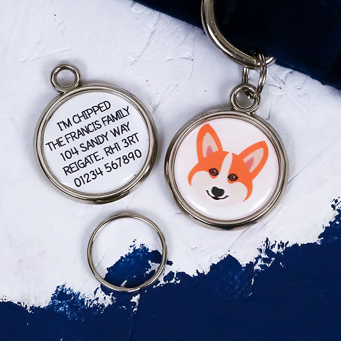 Pawesome pet tags, personalised dog tags, Welsh Corgi gift, Welsh Corgi dog tag, dog name tag, dogs tag,