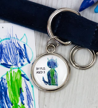 Child drawing ideas, dog ID tag with child drawing by Pawesome Pet Tags