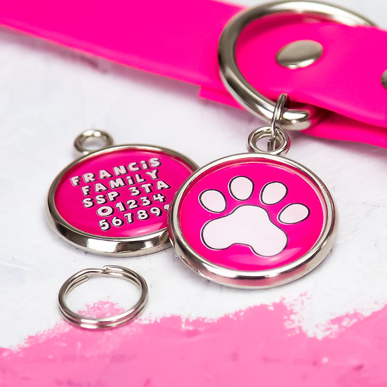 Dogs tag, personalised pet tag, dog ID tag, paw print pet tag, pink dog tag, pawesome pet tags, pet tags UK