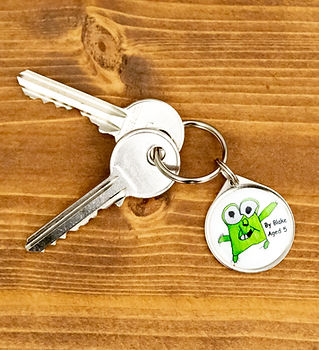 Personalised keyrings for parents, child drawing ideas by pawesome pet tags