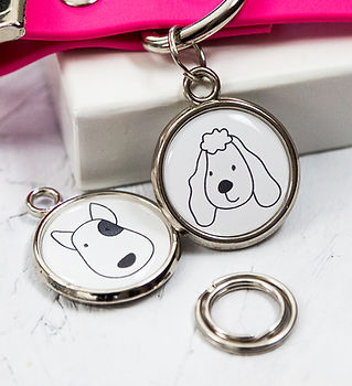 Poodle and Bulldog dog breed ID tags by Pawesome Pet Tags