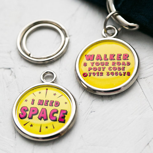 Pawesome Pet Tags, nervous dog, anxious dog, medical dog tag, i need space, yellow dog tag, dogs tag
