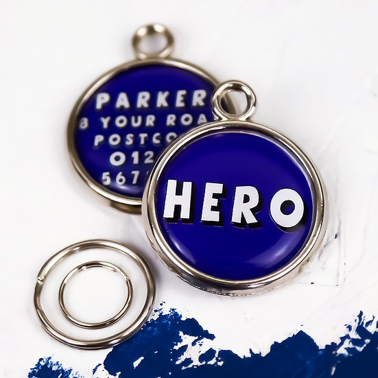 Dogs tag, personalised pet tag, dog ID tag, blue pet tag, dog tag, pawesome pet tags, pet tags UK, superhero dog, hero, dog,