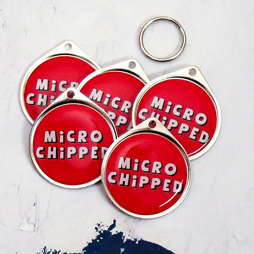 PAWESOME PET TAGS MICROCHIPPED PET TAG BUNDLE WHOLESALE DISCOUNT SINGLE SIDED RED