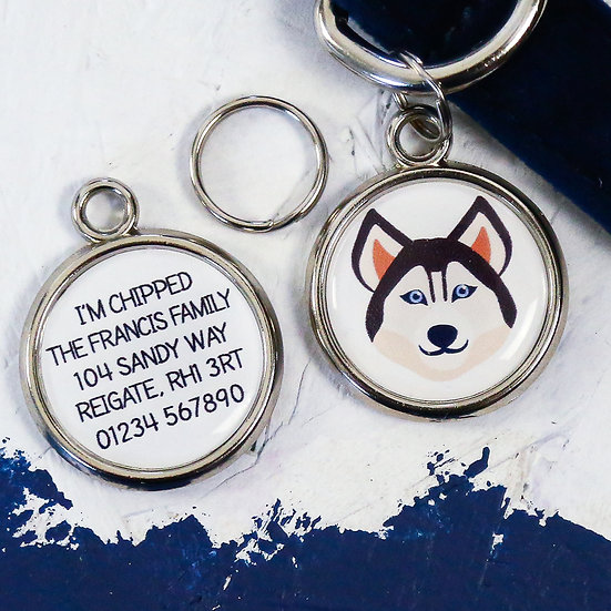 Pawesome pet tags, personalised dog tags, siberian husky gift, siberian husky dog tag, dog name tag, dogs tag,