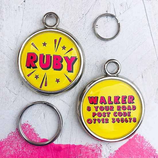Dogs tag, personalised pet tag, dog ID tag, paw print pet tag, dog tag, pawesome pet tags, yellow dog tag