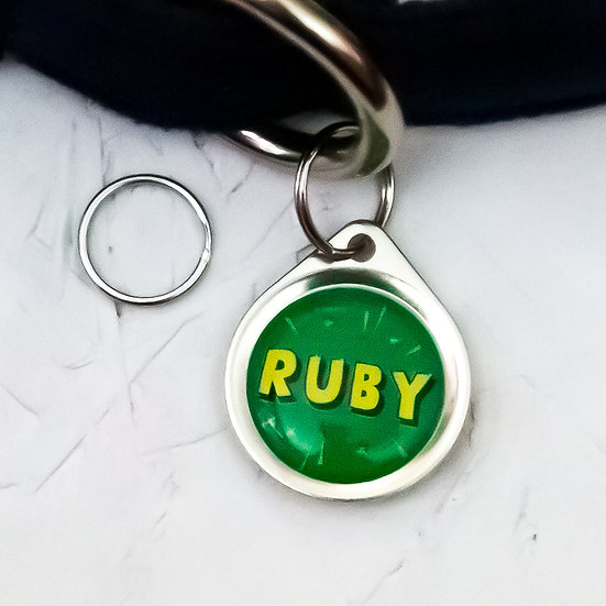 PAWESOME PET TAGS SMALL DOG TAG SMALL CAT ID TAG GREEN STRONG PET TAG