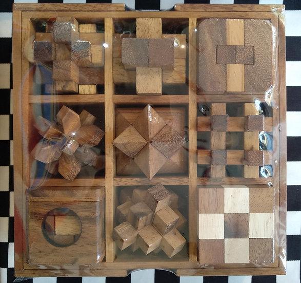 תיבת 9 פאזלים משתלבים עץ