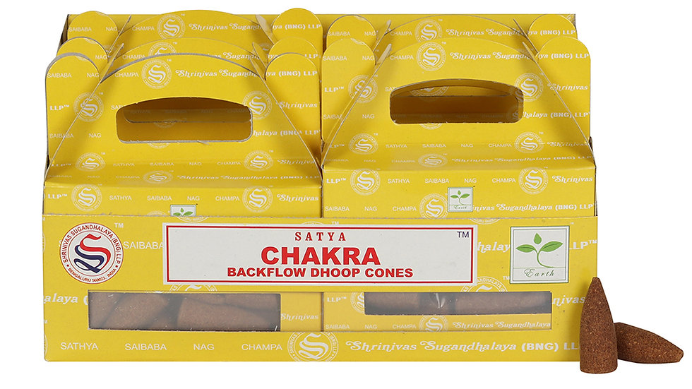 Box of 6 Chakra Backflow Dhoop Cones by Satya