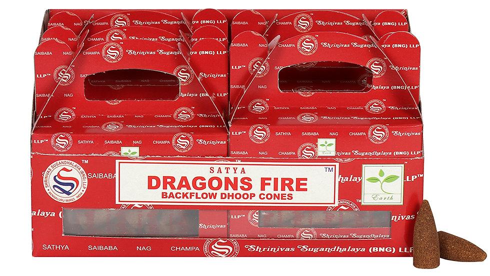 Box of 6 Dragons Fire Backflow Dhoop Cones by Satya
