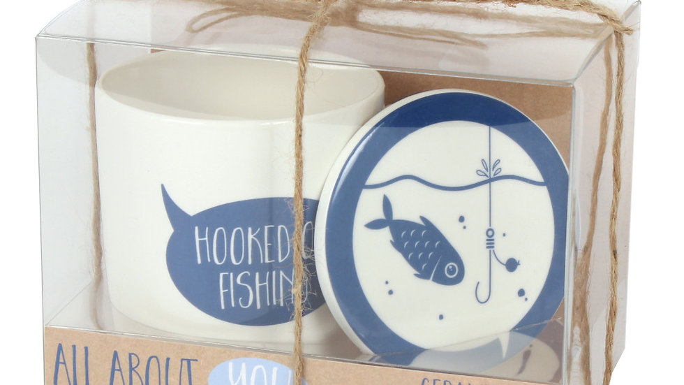 Hooked on Fishing Mug and Coaster Set